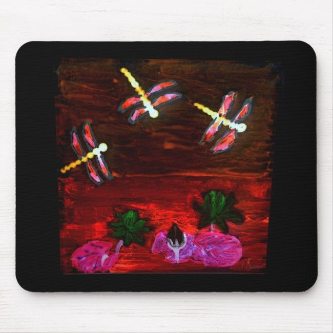 Colorful Nature Waterlily Pond Dragonfly Mouse Pad | Zazzle.com
