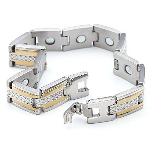 "Zysta Mens 12MM Titanium Magnetic Therapy Wheat Link Bracelet Negative Ion Germanium Power Health Wrist Band 8.5"" Golden Silver Tone Zysta http://www.amazon.com/dp/B012YS0HWG/ref=cm_sw_r_pi_dp_qQKlwb19FZB3C"