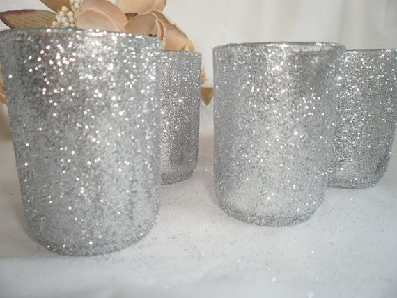 Glitter Votive Candle Holders Wedding Candles  by tiasdresses, $42.00..... I want these but w pink glitter