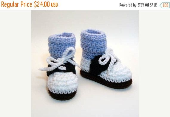 50% OFF SALE Saddle Shoes with Blue Socks Crochet Baby Booties 0-6 Months