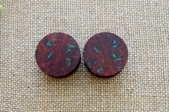 25mm Australian Jarrah Burl Plugs Malachite Stone Inlay Custom One