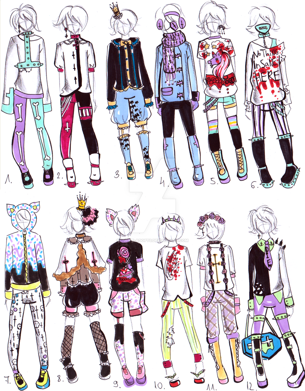 CLOSED- MALE Pastel goth OUTFITS by Guppie-Adopts on ...