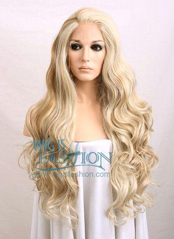 24 28 Long Curly Mixed Ash Blonde Lace Front Synthetic Hair