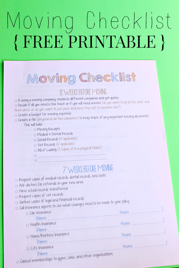 Moving Checklist Printable  Note Ships And Big Move