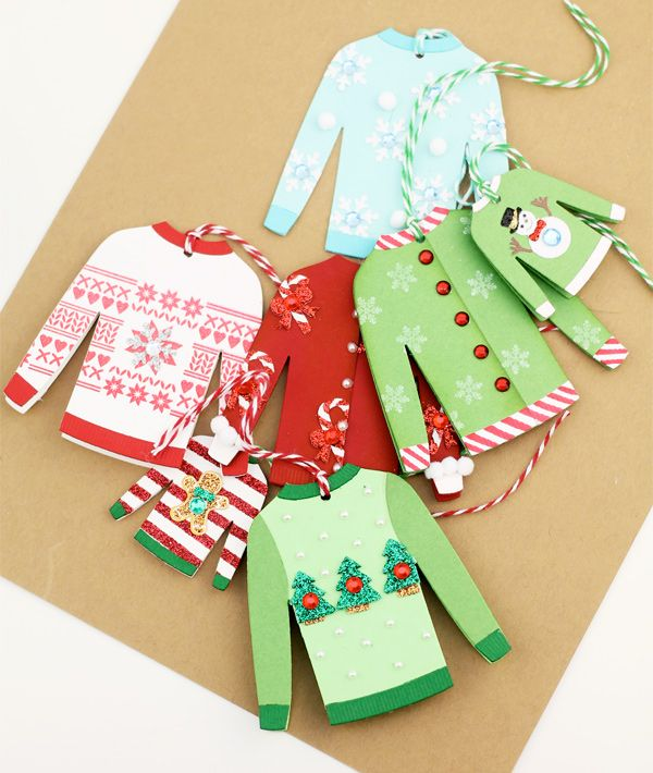 9c2b4b4f1293d1 Ugly Christmas Sweater Card Tags found on Damask Love blog - created using  My Favorite Things Sweater Die and an assortment of embellishments.