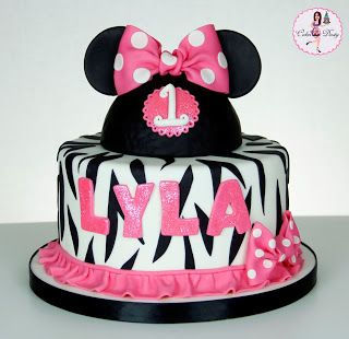 Minnie Mouse Zebra Print Cake Lyla Cakes Decorated Pinterest