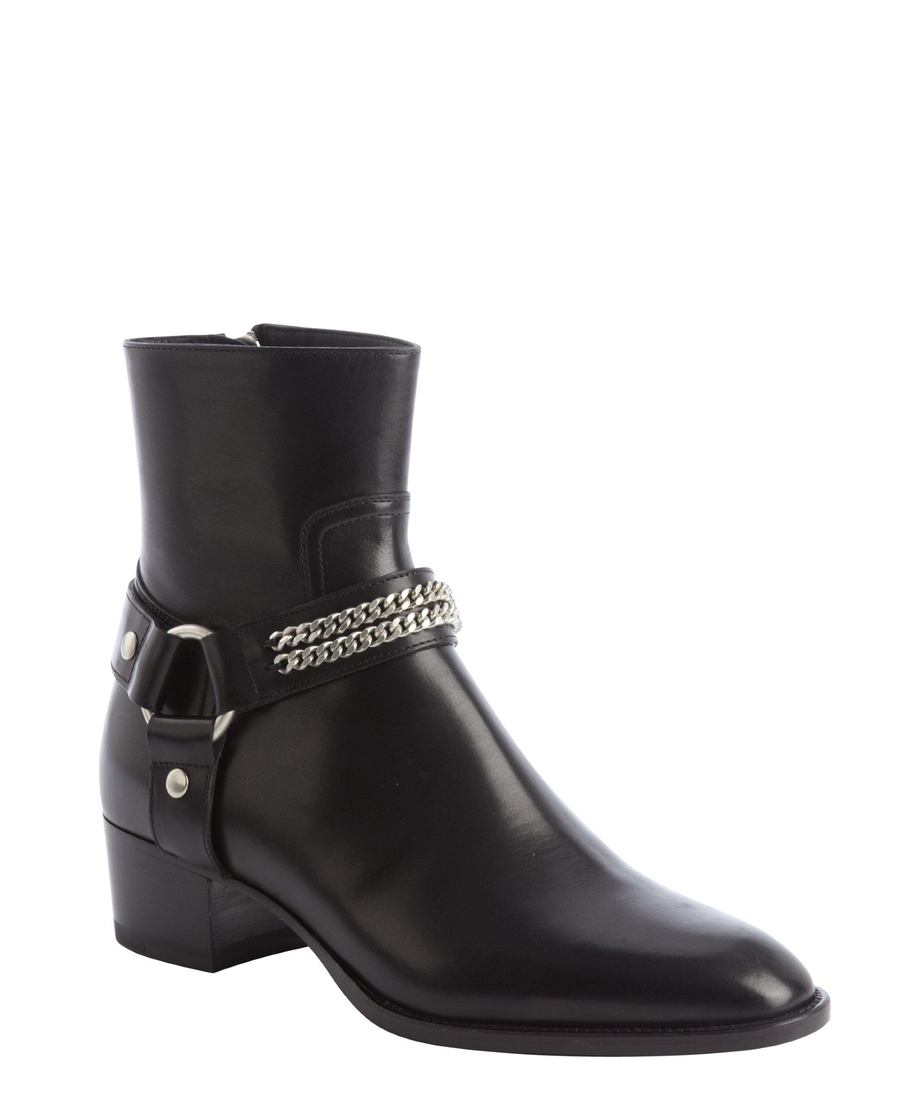 60ac1f5616f Saint Laurent black leather harness detail chainlink ankle boots ...