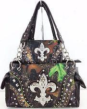 Cowgirl Fashion Western Fleur De Lis CAMO Tote Shoulder Handbag Purse Wallet Set