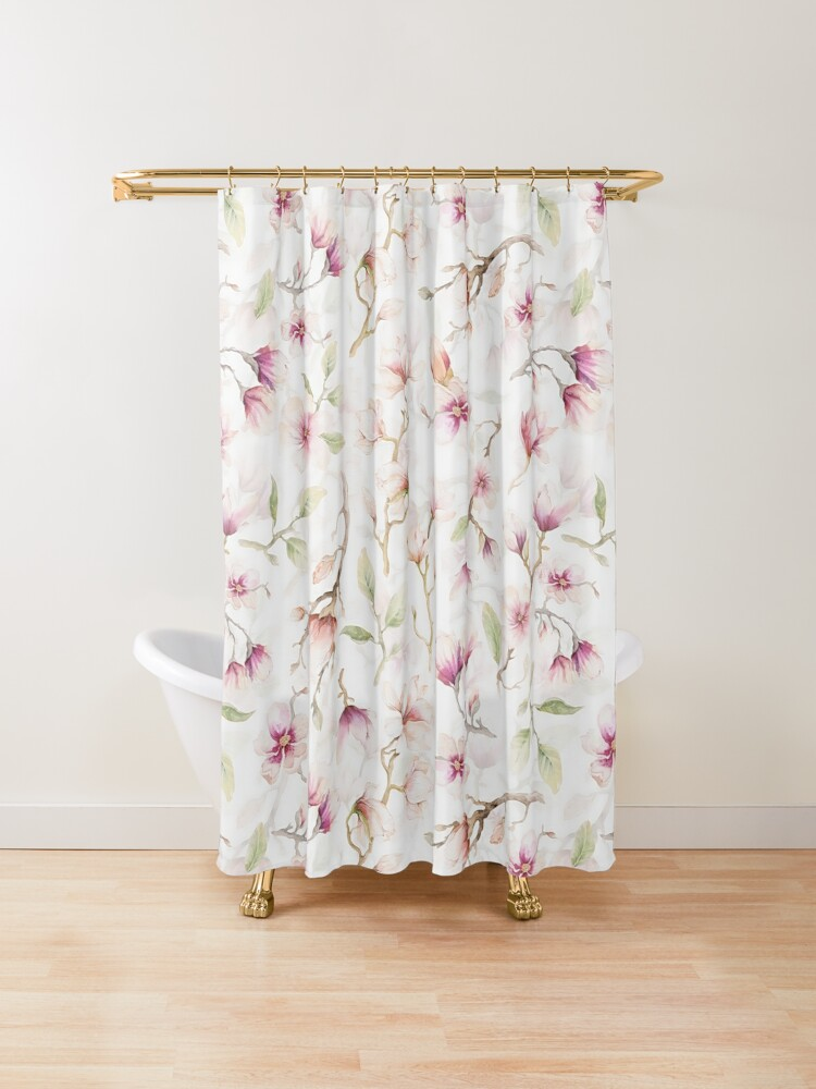 Blush Pink Hand Drawn Watercolor Magnolia Flowers Shower Curtain