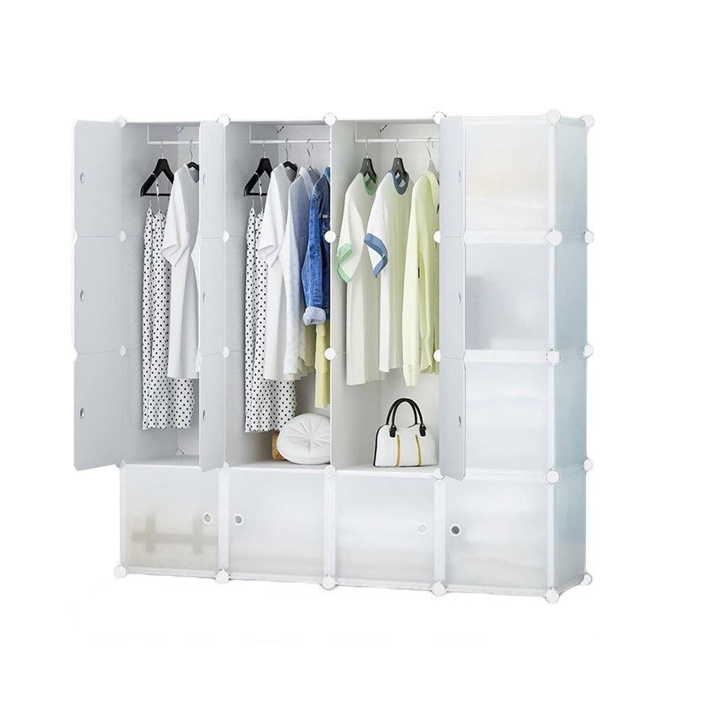 Free Standing Portable Sturdy Clothes Closet Wardrobe 16 Cube