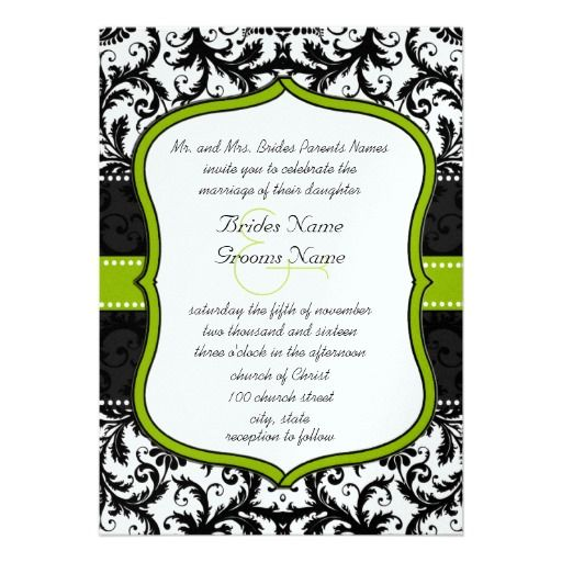 Apple Green Wedding Invitations: Photo Apple Green Black Vintage Damask Wedding Invitation