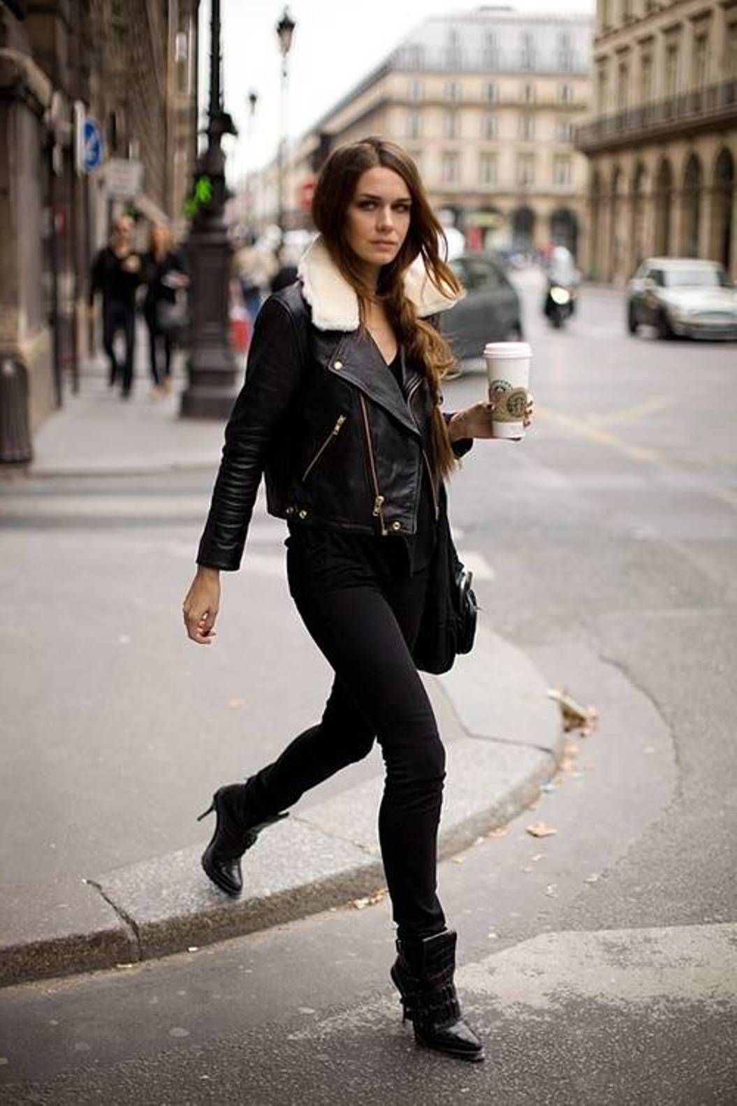 biker shearling jacket | Winter/ Fall Outfits | Pinterest ...