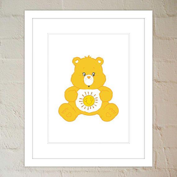 Sunshine Bear - Care Bear - Nursery Print in Yellow - Wall Art ...