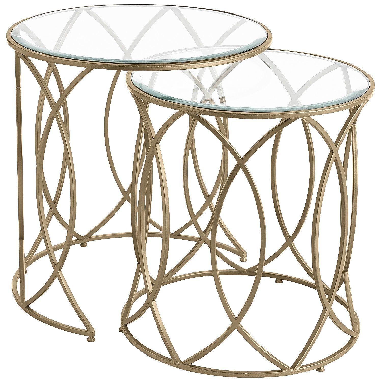 Elana Bronze Iron Round Nesting Tables Nesting Tables Double