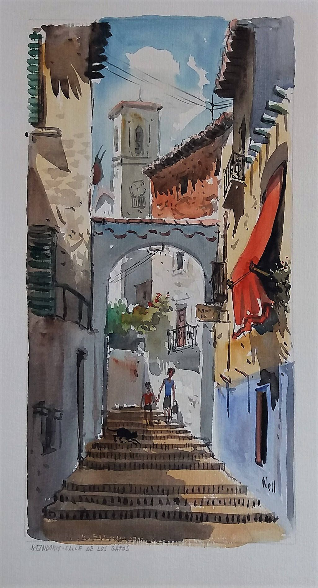 Benidorm Spain Calle De Los Gatos Original Watercolour Painting
