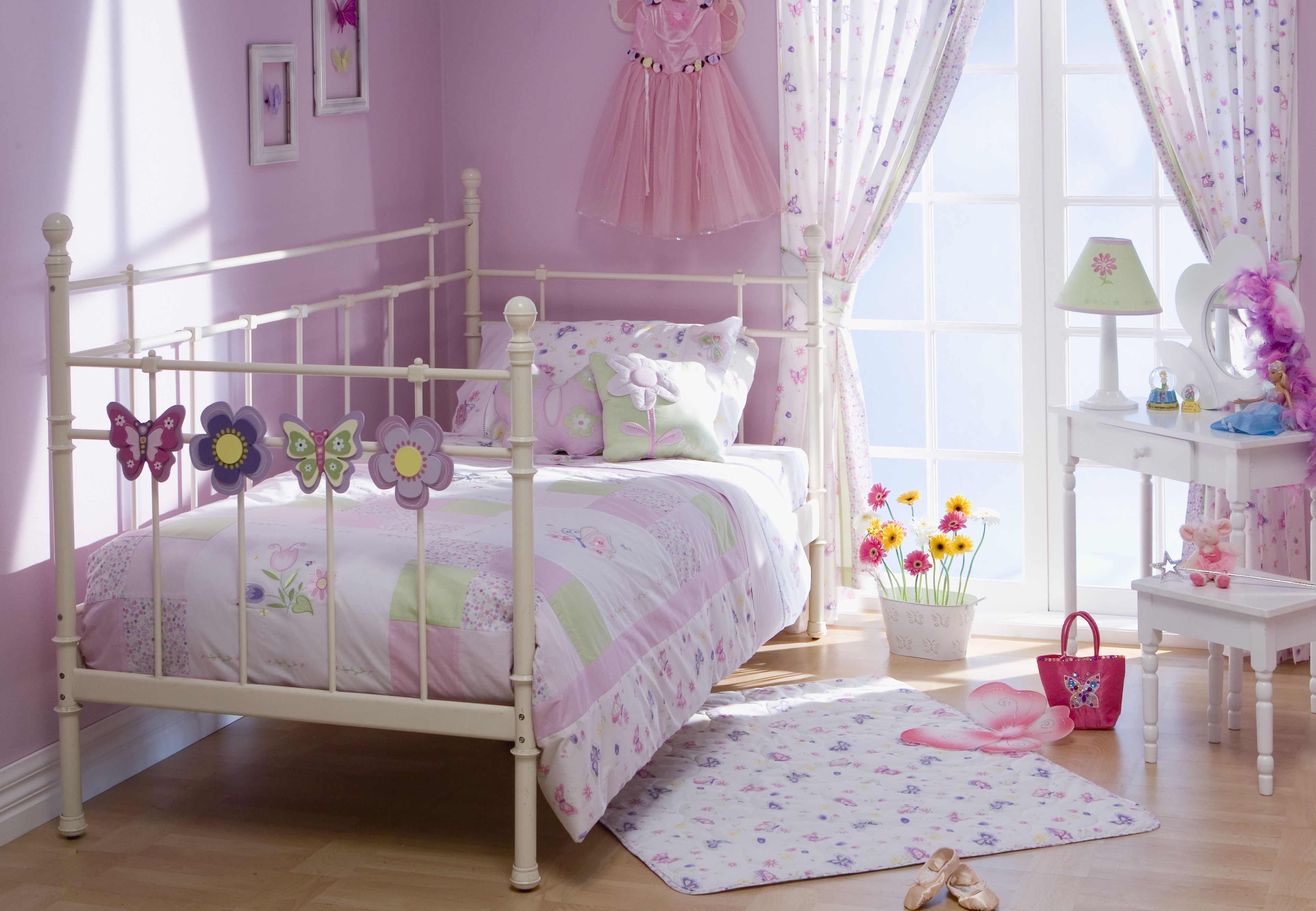Delightful Pink Themes Design Room For Teenage Girls With Modern White Metal Bed Frame That Have