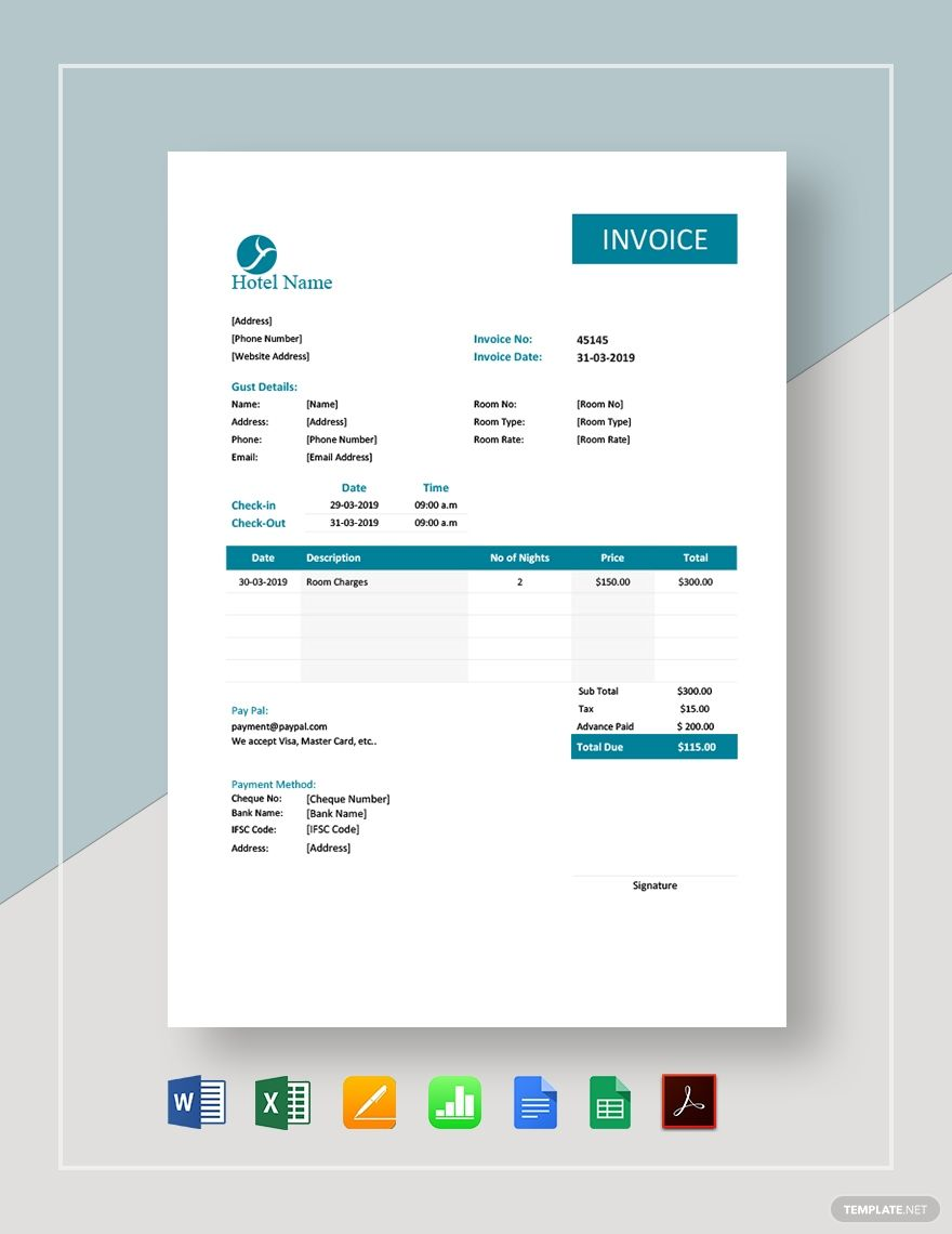 Hotel Room Invoice Template Free Pdf Google Docs Google Sheets Excel Word Template Net Invoice Template Brochure Design Template Invoice Template Word