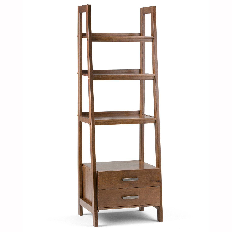Sawhorse Ladder Shelf With Storage Wood Ladder Shelf Ladder Shelf Bookcase