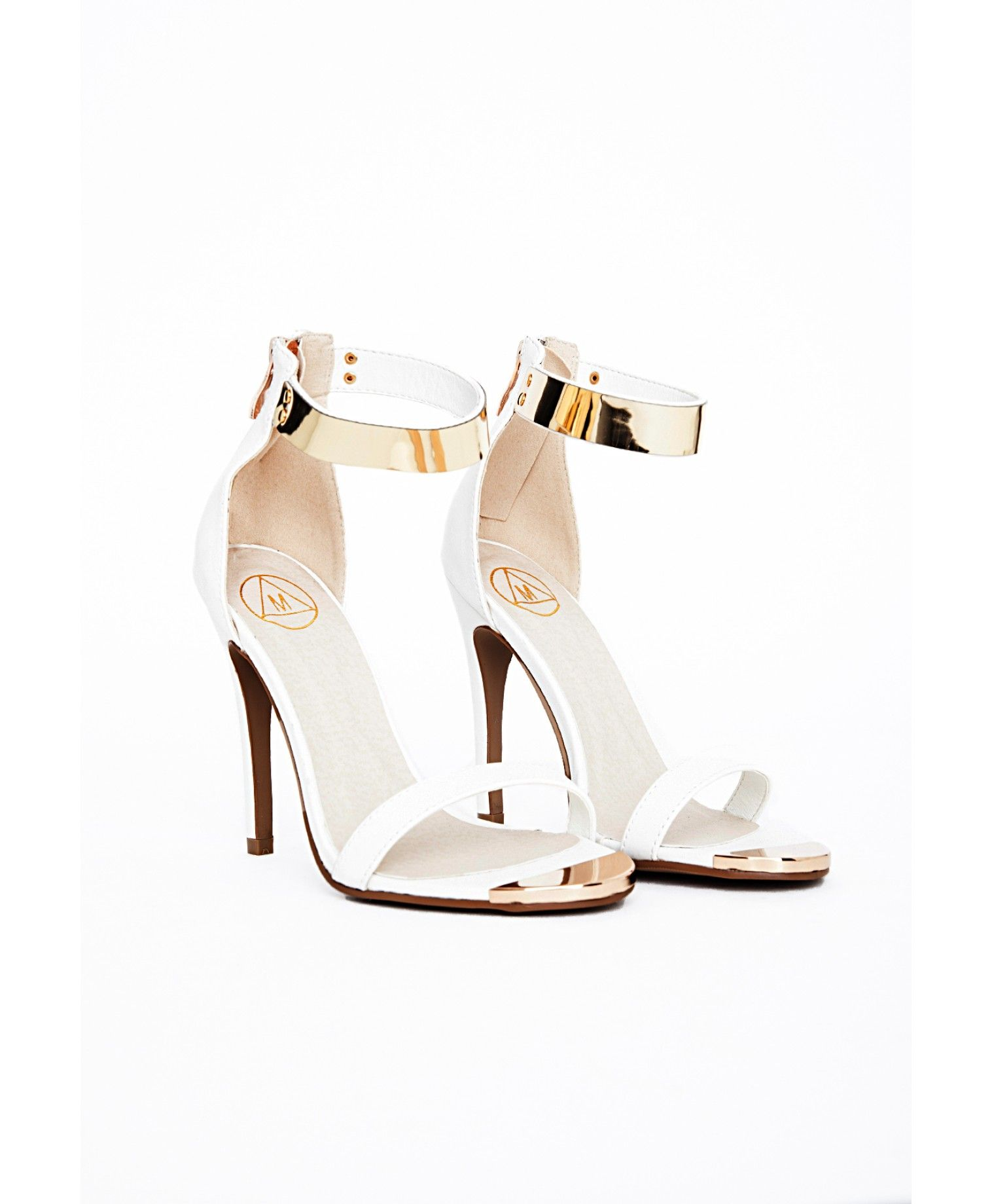 68c11f2a30 Kim Gold Plate Ankle Strap Heeled Sandals White - Shoes - High Heels -  Missguided