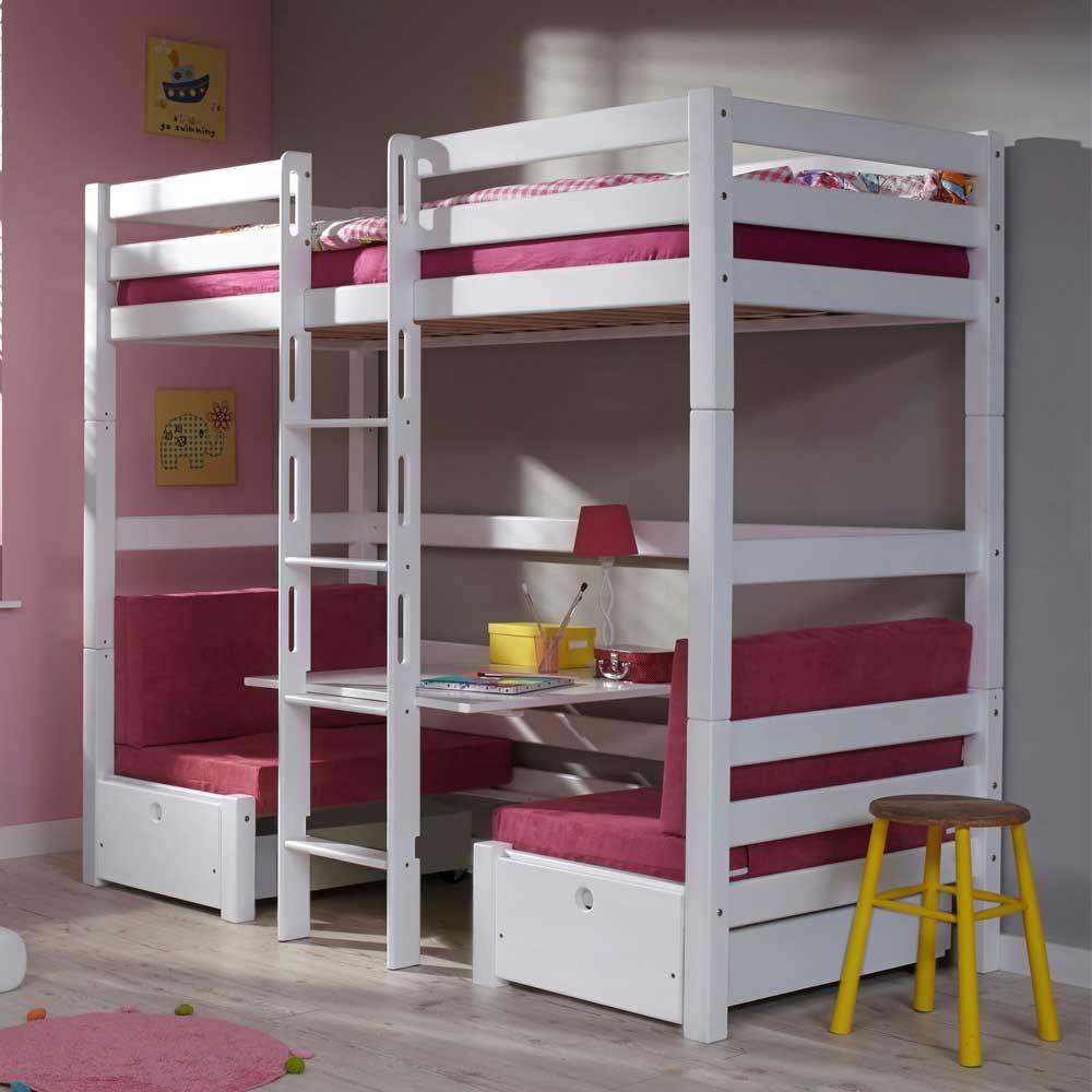 Hochbett Mädchen mädchen hochbett mit sitzecke weiß pink jetzt bestellen unter https