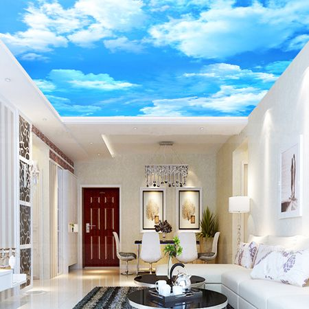 Sky ceiling paper custom environmental non woven paper for Ceiling sky mural