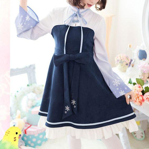 "Material: Blue Sweet Snowflake Dress Option: S/M/L Size reference: dress: Size Shoulder Bust Waist Length Sleeve Length S 35cm/13.78"" 86cm/33.86"" 76cm/29.92"" 85"