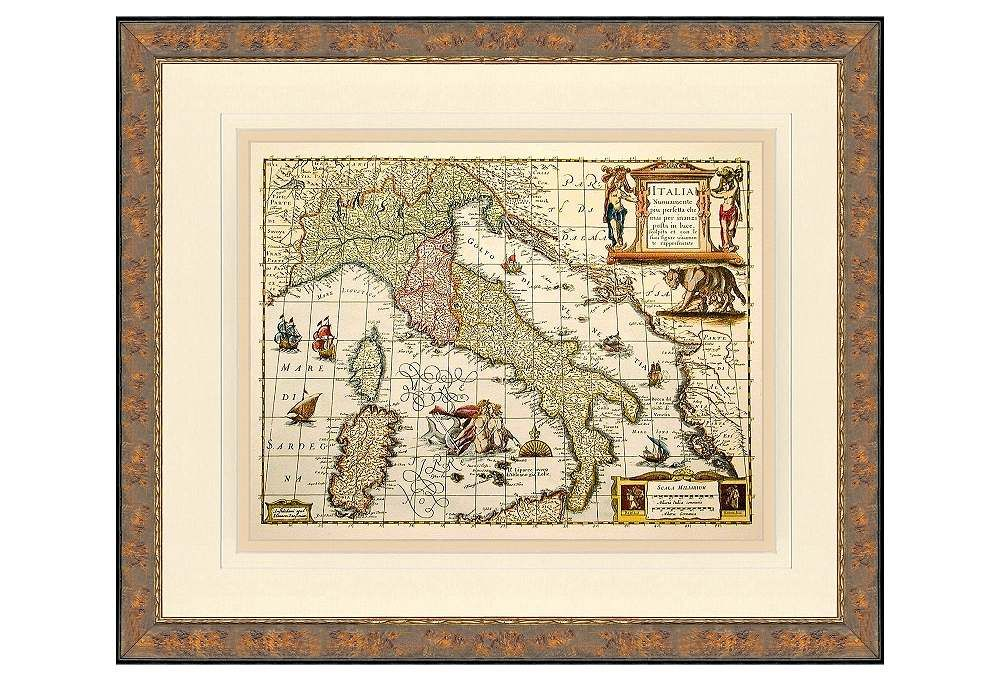 Hand Colored Map of Italy $299 {One Kings Lane}