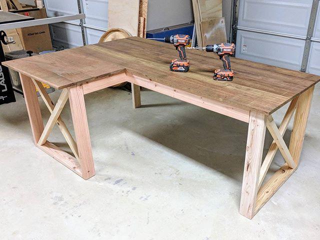 l shaped double x desk in 2019 allstar woodworking diy build rh pinterest com