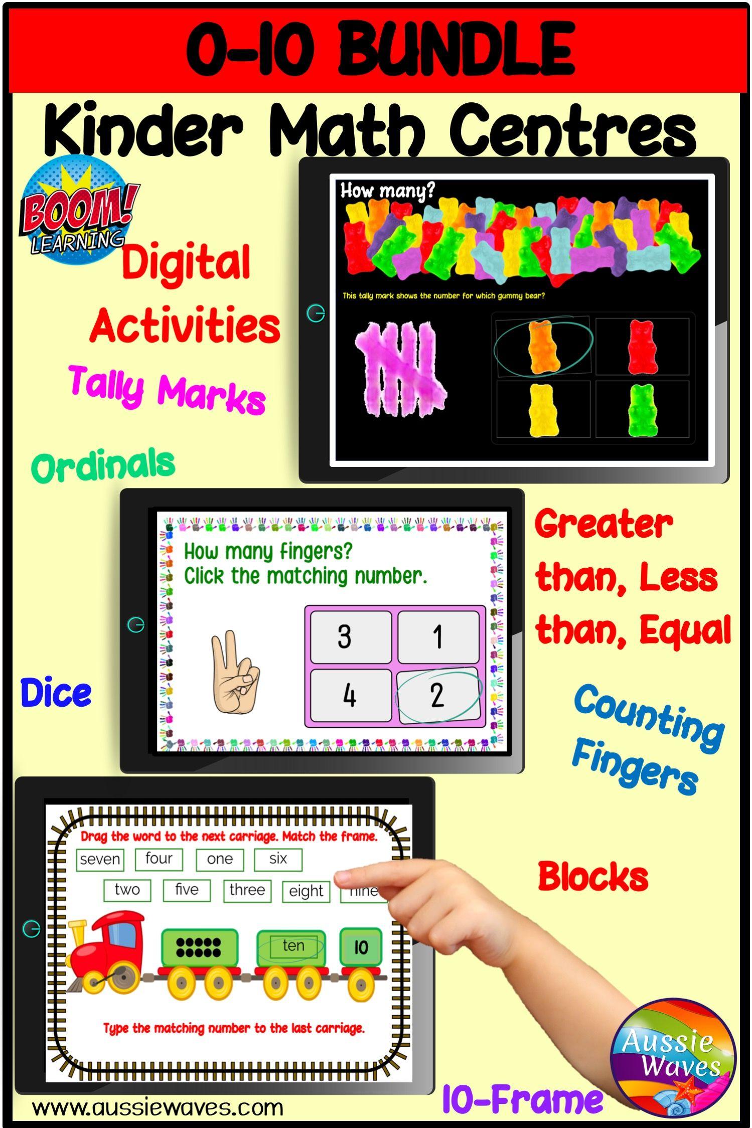 Digital Math Tasks Bundle Numbers 0 10 Kinder Math Centres