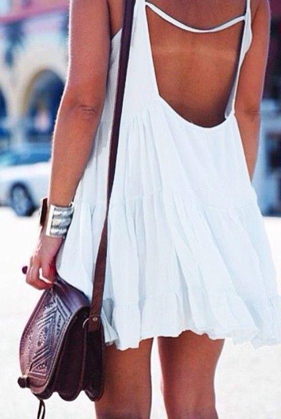 White Condole Belt Ruffle Backless Cotton Dress