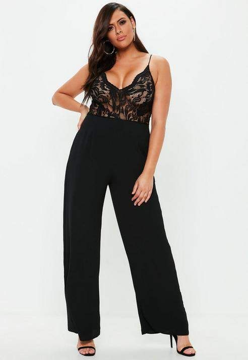 7d4e63be222 Missguided Plus Size Black Lace Plunge Wide Leg Romper in 2019