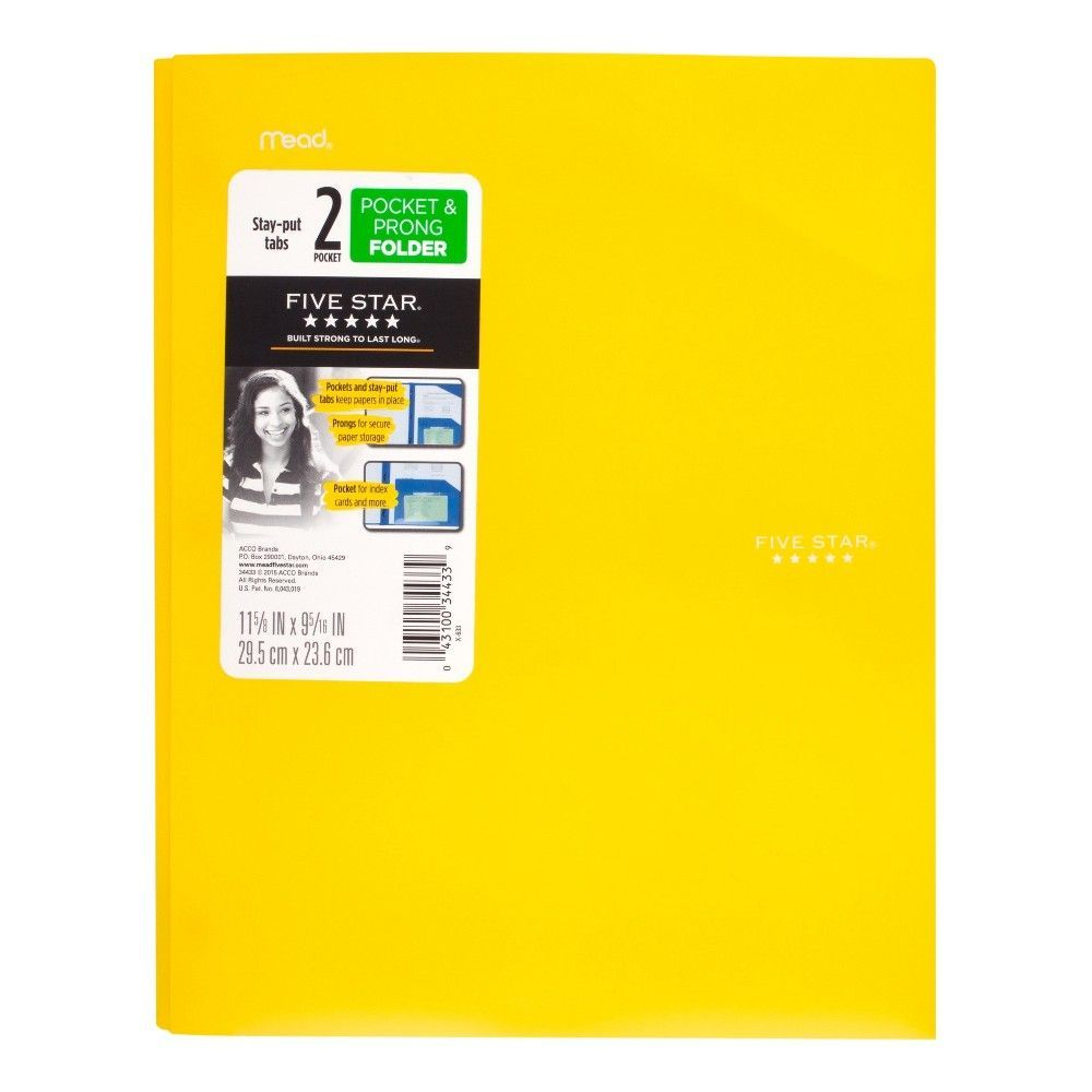 five star plastic folder with prongs 2 pockets yellow in 2018