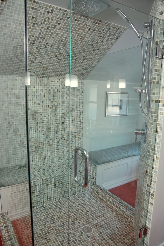 Sumi-e 1 x 1 Atami Natural used in a bathroom shower surround ...