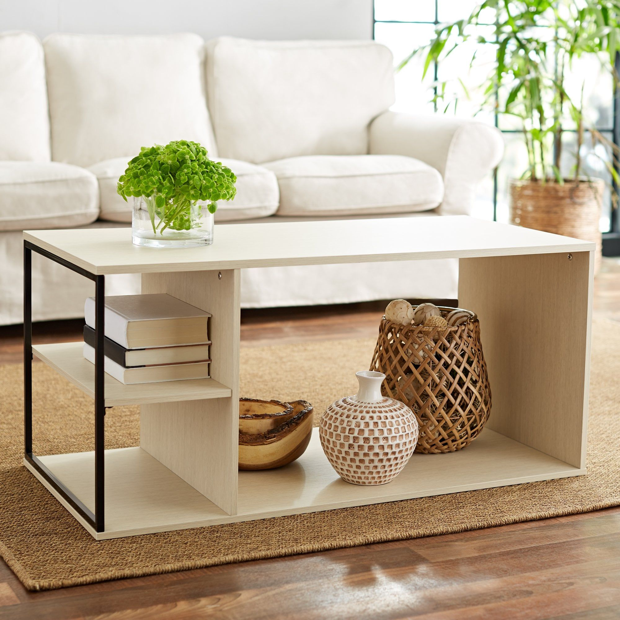 Mainstays Kalla Wood And Metal Coffee Table Metal Coffee Table