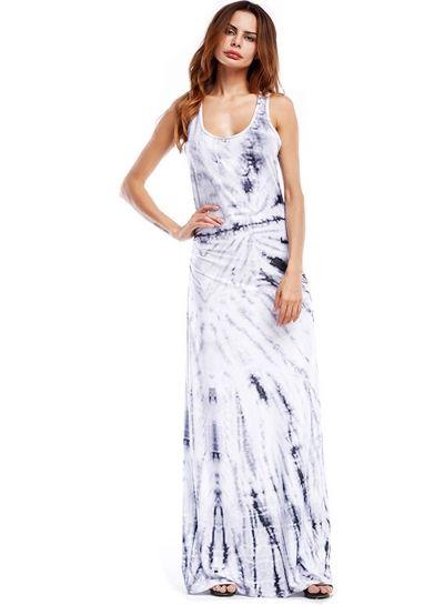 Scoop Neck Sleeveless Printed Slim Evening Dress