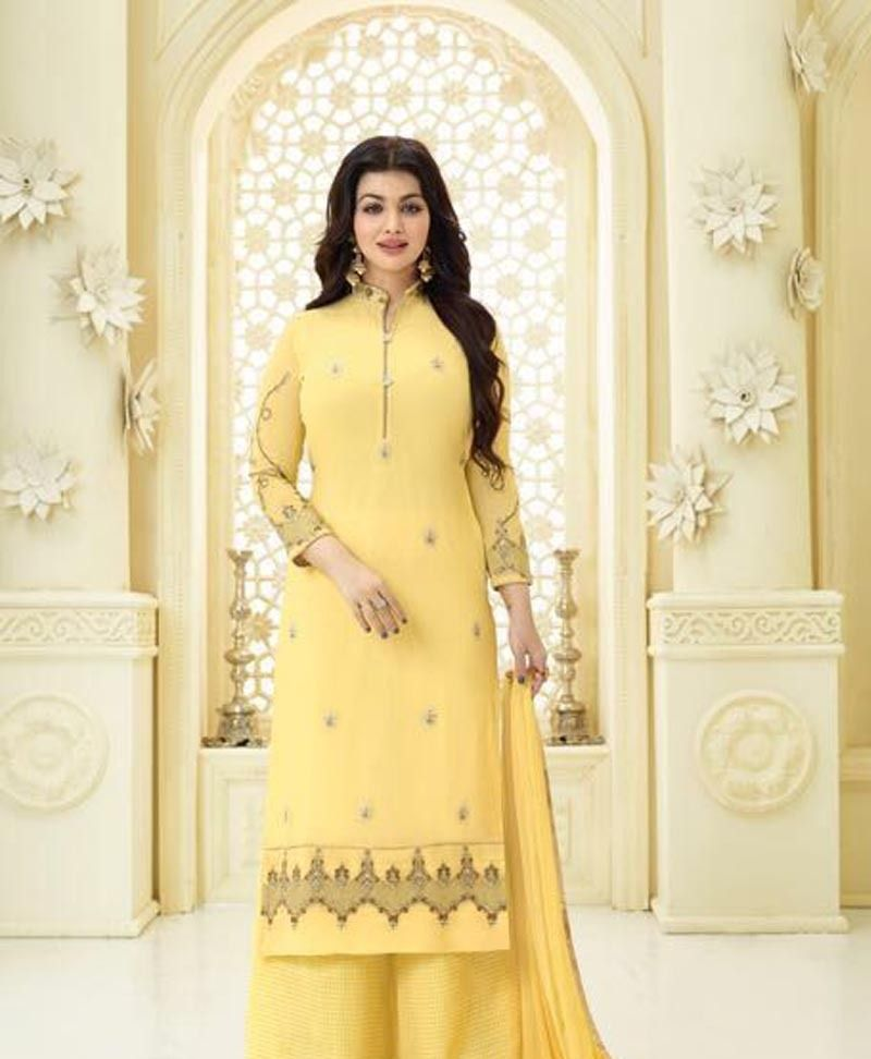 Kerala Party Hairstyles: Surpassing Yellow Georgette Embroidery Work Palazzo Salwar