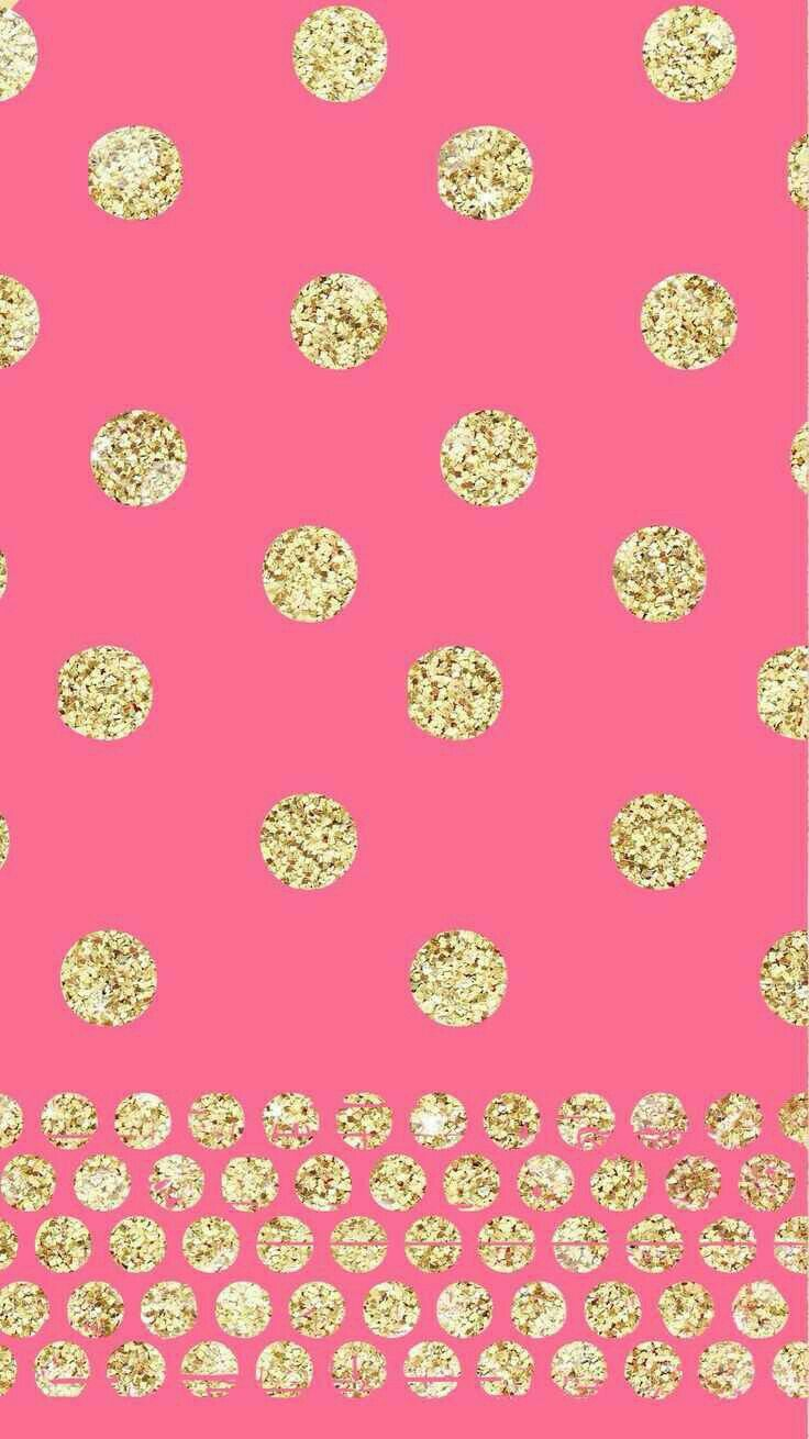Pics photos pink polka dot s wallpaper - Pink Gold Glitter Polka Dots Phone Wallpaper