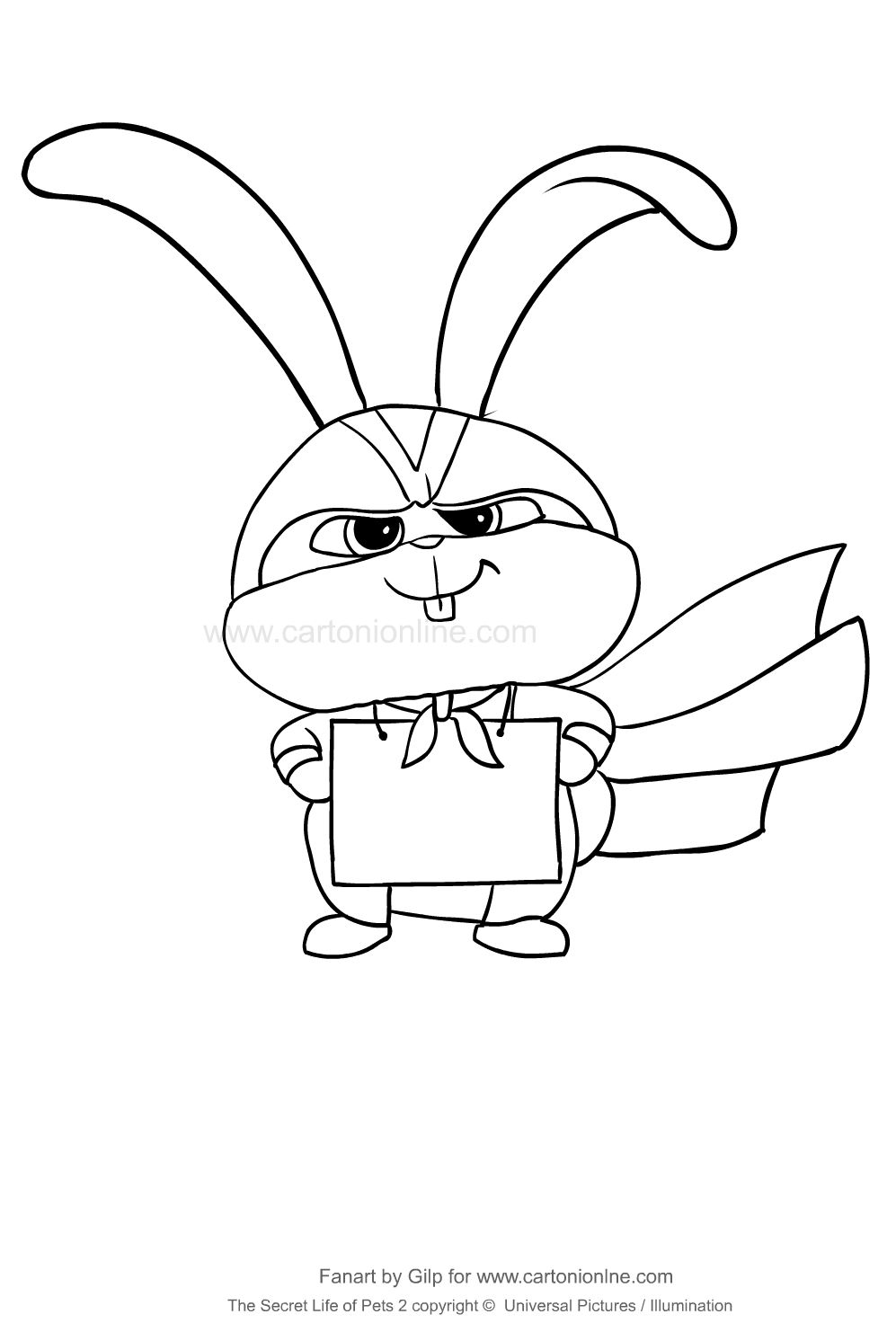 Snowball From The Secret Life Of Pets 2 Coloring Page To Print And Coloring Pets Drawing Secret Life Of Pets Ariel Coloring Pages