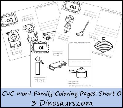 New Cvc Word Family Coloring Pages Short O Vowel Cvc Word Families Word Families Cvc Words