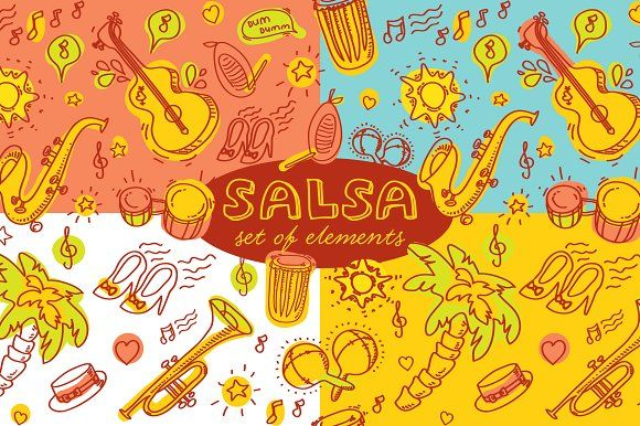 Salsa pattern and 3 templates Graphics Vector set of elements about