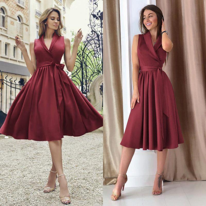 Wholesale V-neck Binding Bow Womens Sleeveless Dresses