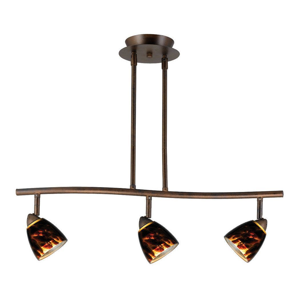 Serpentine Brown Metal 3-light Hanging Track Fixture (Track Lights ... for Hanging Track Light Fixtures  54lyp