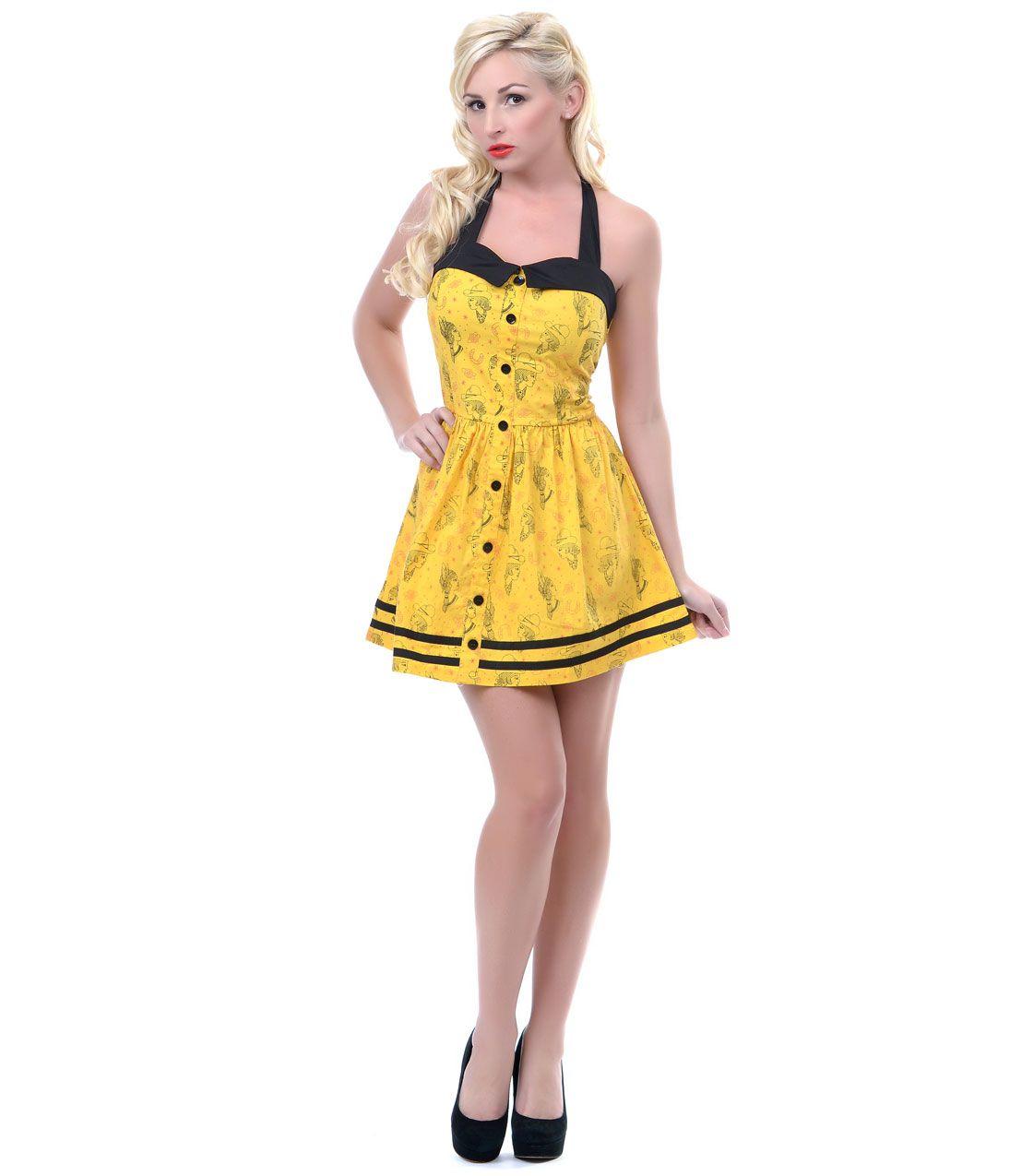 Yellow Wild West Halter Dress - Unique Vintage - Prom dresses, retro dresses, retro swimsuits.