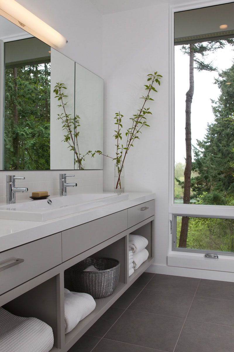 15 Examples of Bathroom Vanities That Have Open Shelving // The ...