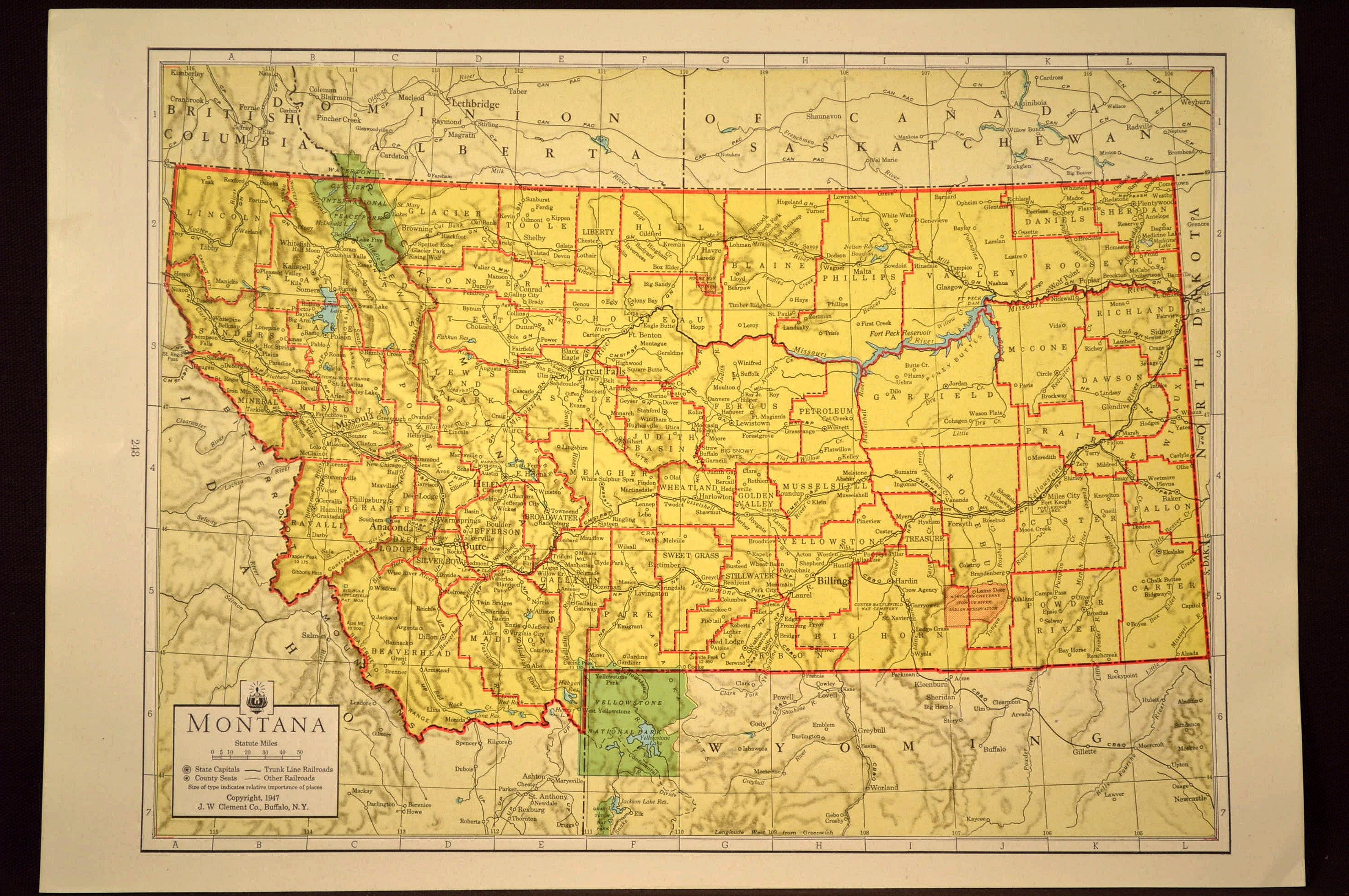 Colorful Yellow Vintage Montana Map Montana Wall Art Colored | Map ...