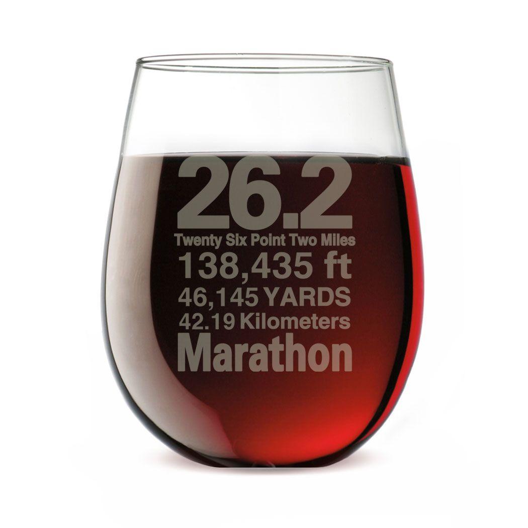 Runner S Stemless Wine Glass 26 2 Math Miles Gift For Marathon Runners Glassware For Marathon Runner Stemless Wine Glass Wine Glass Engraved Wine Glasses