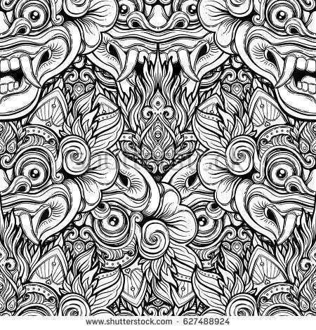 barong traditional ritual balinese mask vector decorative ornate outline black and white seamless pat hindu art patterns barong vector graphics illustrations barong traditional ritual balinese