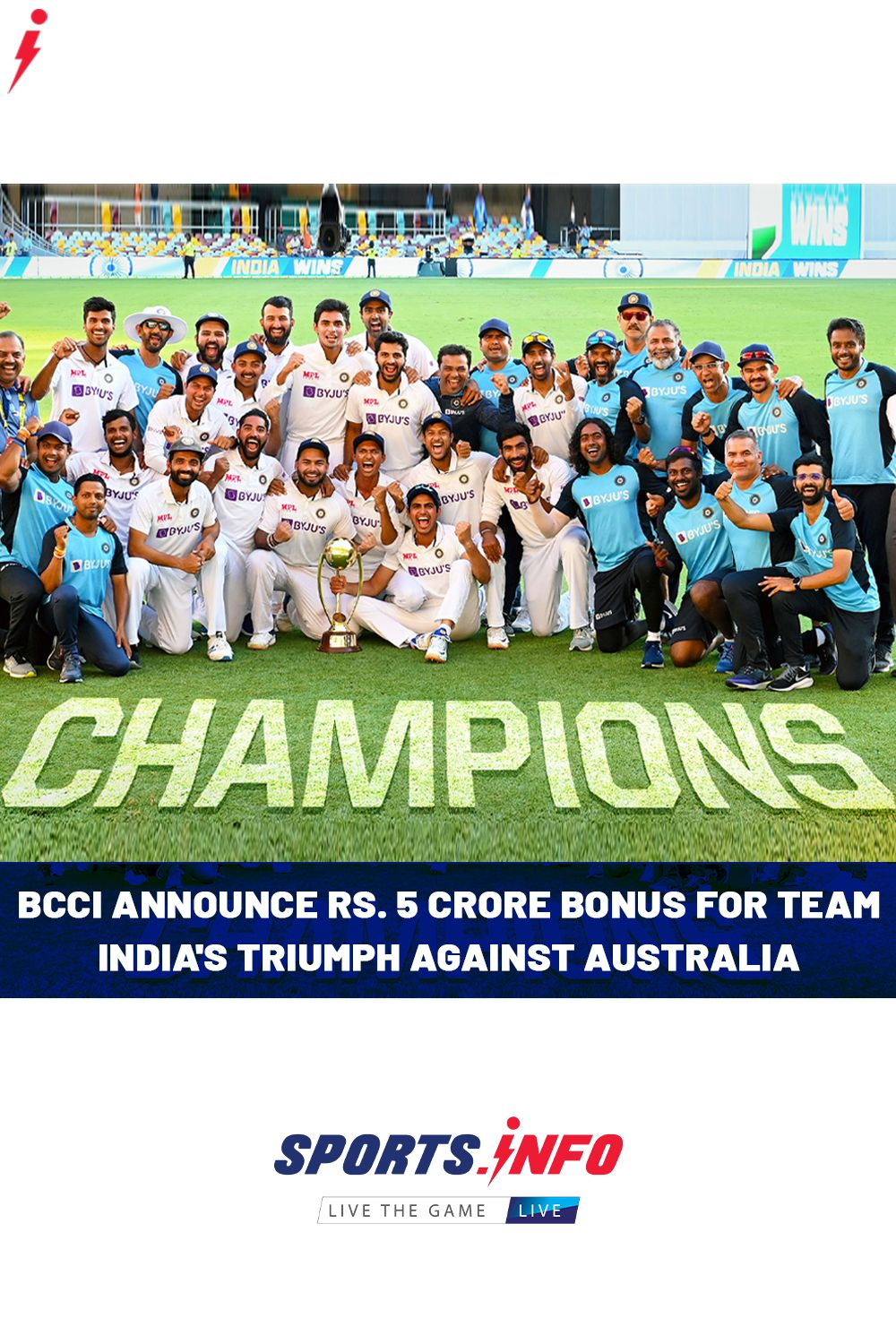 Bcci S Announcement For Team India S Victory Against Australia In 2021 The Incredibles Australia Victorious