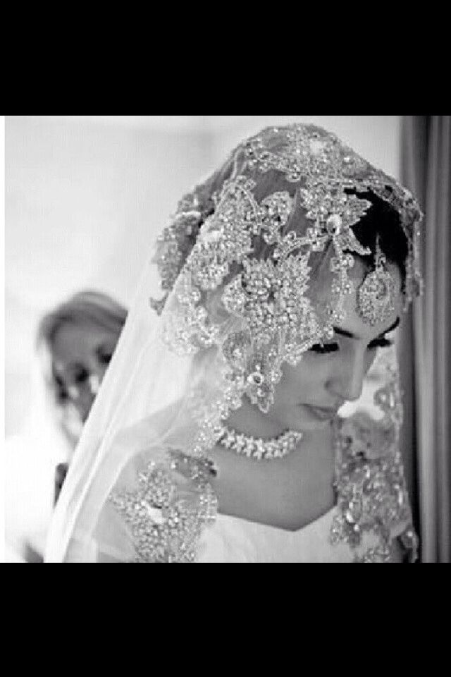 Love this bride'a bejeweled veil. So pretty!