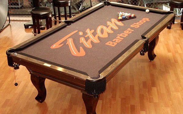 Titan Barber Shop Custom ArtScape Pool Table Felt | Custom Pool ...